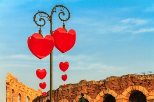 Hearts in Verona, Italy, on Valentine's Day